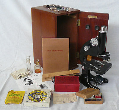 Vintage R&J BECK MICROSCOPE Wood Box Key Handbook Biology Thin Sections + More