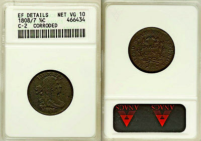 1808/7 ANACS XF $4,250 PCGS Price Guide! Draped Bust Half Cent 1/2C