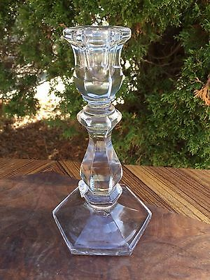 "ANTIQUE 7.5"" Clear GLASS CANDLE STICK HOLDER Hexagon top & bottom"