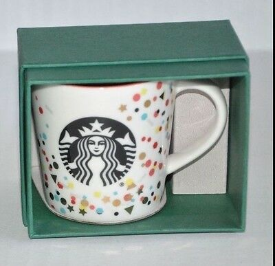 STARBUCKS Confetti Design 2016 Espresso Mug Cup Ornament 3 oz. New with Box