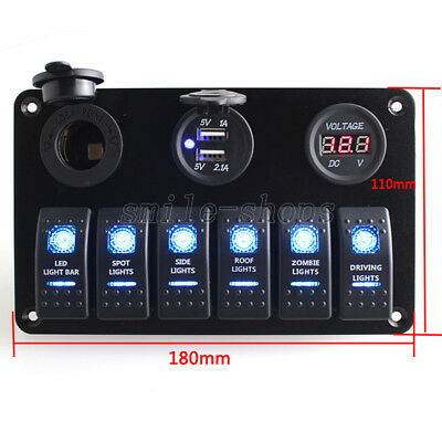Waterproof 6 Gang Blue LED Switch Panel Circuit Braeker for 12V Car Boat Marine