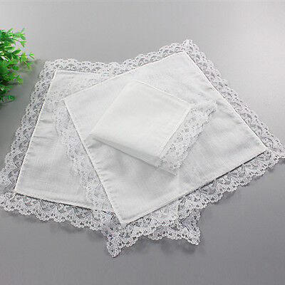White Lace Border Cotton Handkerchief Hanky Pocket Wedding Party 1Pc