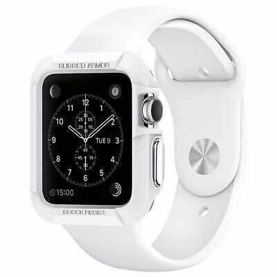 Apple Watch Case 38mm Series 2 and 1 Rugged Armor Cover Shock Absorption White