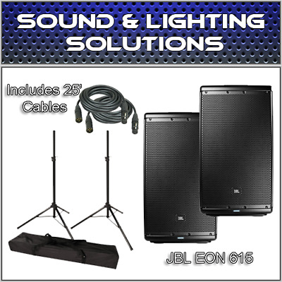"JBL EON615 EON 615 EON-615 15"" 2-Way Powered Speaker Pair with Stands and Extras"