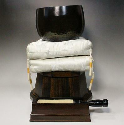 Japanese Buddhist bell Vajra Bell esoteric Buddhism w/ cushion & plinth