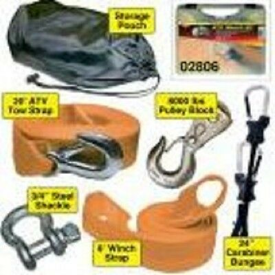 Keeper ATV Winch Kit Storage Case, Pulley Block Carabiner Bungee Strap Shackle