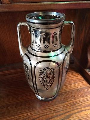 Large Antique Vintage Art Deco Black Glass Vase With Silver Painted Design