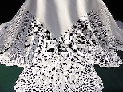Antique Linen Damask Tablecloth-Stunning Deep Hand Crochet Convolvulus