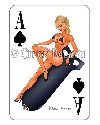 Bomber Girl VIXEN VICKY! pinup playing card decal pin-up babe sticker
