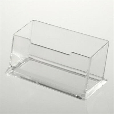 Clear Desktop Business Card Holder Display Stand Acrylic Plastic Desk Shelf CE