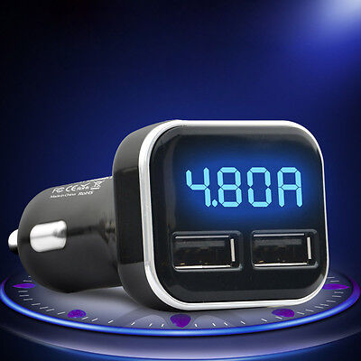 Universal 4.8A Quick Charge Dual USB Car Charger for Smart Cellphone Black New