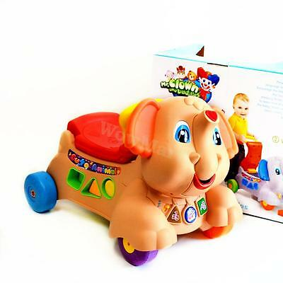 New Kid Toddler Gift 3 in 1 Baby Walker & Ride On Toy Elephant (A2033 Orange)