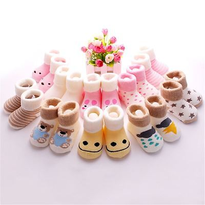 5 Pairs/Pack Baby Boys Girls Cartoon Socks Anti-Slip Kids Cotton Warm Feet Socks