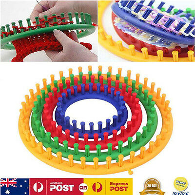 4Size Knitting Knitter Looms Ring Set - Make Socks Scarves Hats Bags etc - Round