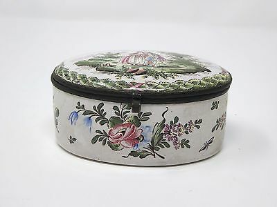 After Veuve Perrin Painted Faience Trinket box c. 1830s in lovely condition