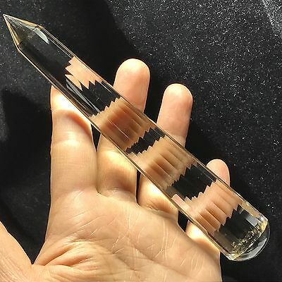 "6.0"" 18 sided VOGEL Style Natural Light Smoky PQUARTZ CRYSTAL Wand POINT 114g"