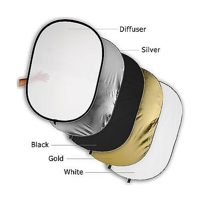 """Fotodiox Pro 48x72"""" 5-in-1 Collapsible Oval Reflector Silver/Go... Free Shipping"""
