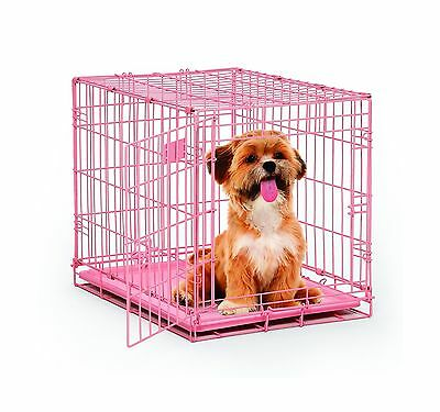 MidWest iCrate Folding Metal Dog Crate Single Door Pink 24-inch Free Shipping