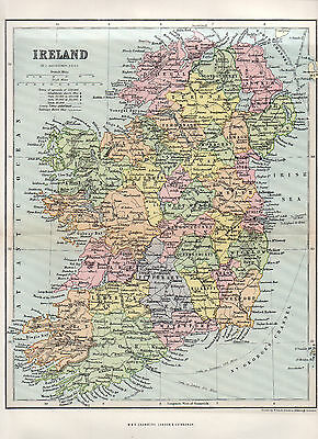 Map Of Ireland Antique Original Printed 1890
