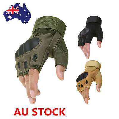 AU Military Army Outdoor Airsoft Half Finger Motorcycle Cycling Tactical Gloves