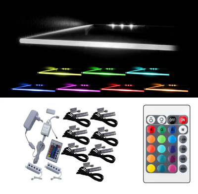 LED Lights for Glass Shelves - RGB 15 colour - with Remote Control - Clips