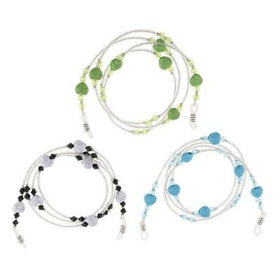 3x Beaded Eyeglass Spectacle Reading Glasses Chain Neck Holder Cord Lanyard