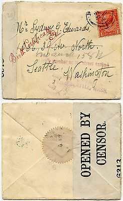 GB 1918 CENSORED COVER to USA SEATTLE...NO SUCH NUMBER