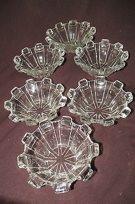 Antique Art Deco Clear Glass 6x. Sweet Dessert Bowls Dishes Pylon Sides 11.5CmW