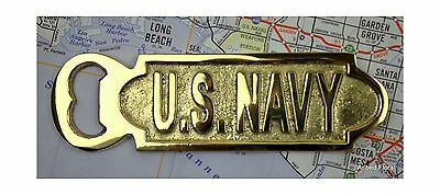 Solid Brass U.S. Navy Bottle Opener ~ Unique Nautical Decor Free Shipping