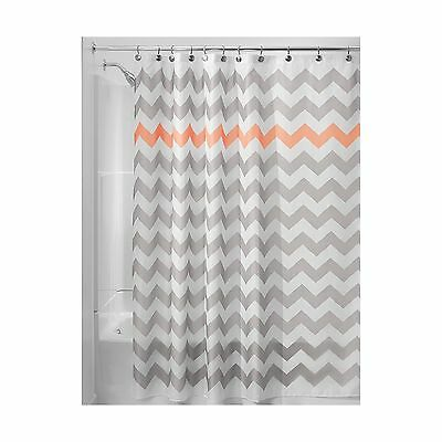 InterDesign Chevron Shower Curtain 72 X Inch Light Gray Coral Free Shipping