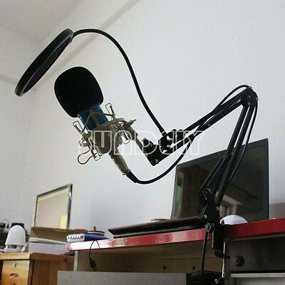 Condenser Microphone Mic Sudio Recording with Suspension Boom Scissor Arm Stand