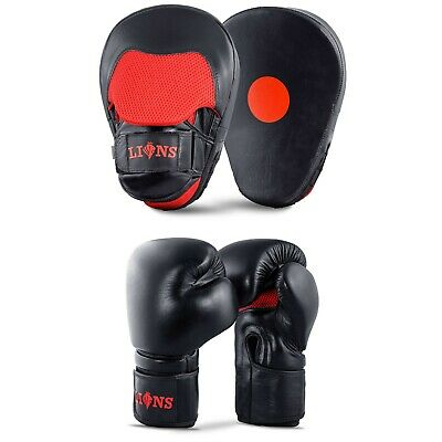 Focus Pads and Boxing Gloves Hand Wraps Set Hook & Jabs Mitt Punch Bag Training