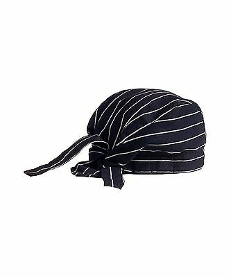 Chef Tie Back Cap Black With White Free Shipping