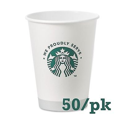 Starbucks White Disposable Hot Paper Cup 12 Ounce 50 Pack Free Shipping
