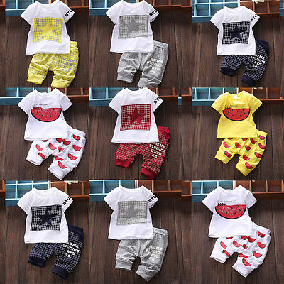 Baby Boy Girl Kid Summer Cotton T-shirt Tops Clothes and Short Pants Outfit Set