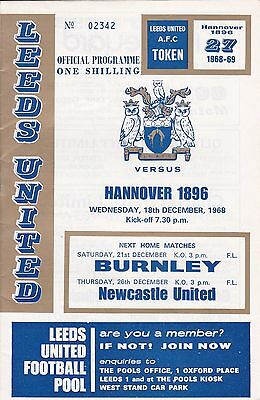 LEEDS UNITED v HANOVER 1896 ~ FAIRS CUP CUP ~ 18 DECEMBER 1968
