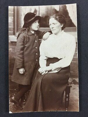Vintage Postcard: Real Photo: Anonymous Family: #A111: Sad Lady & Young Girl