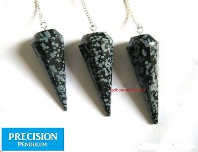 Solid Snowflake Obsidian 12-Faceted Precision Pendulum Healing Crystal Gemstone