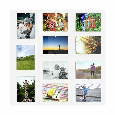 Set Of 12 Glass Frameless Photo Frame With Clips For 4x6 Inch P