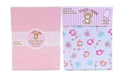 Honey Baby Pink Elephant Toddler Bed or Crib Sheets 2-Pack (100... Free Shipping