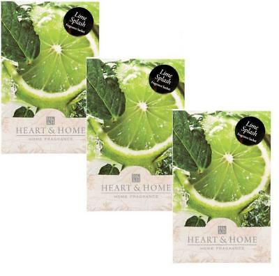 Pack of 3 Heart and Home Lime Splash Large Scented Fragrance Sachet with Hanger