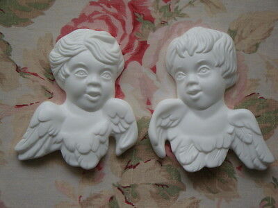 New! Cherubs with Wings Pair L/R Facing Furniture Applique Architectural Plaque