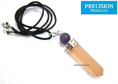 Orange Selenite w/ Amethyst Ball Top Crystal Precision Pendulum Pendant Necklace