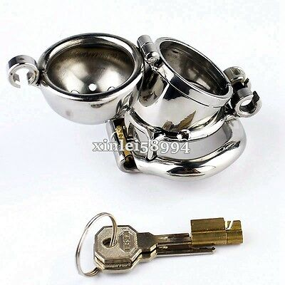Double Lock Design Male Chastity Belt Device Stainless Steel Cage Removable