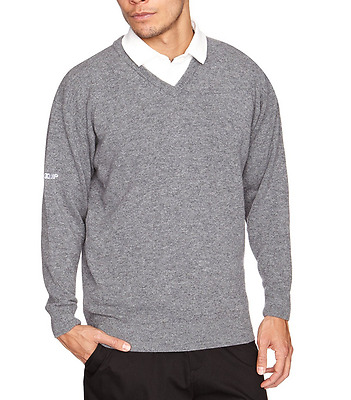 ProQuip Mens LambsWool - Grey - V-neck Jumper - XLarge - Pro Quip Clothing -Golf