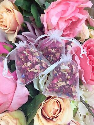 10 x Wedding Petal Confetti Bags. Dried & Biodegradable. Real Flower Decoration