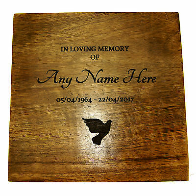 Wooden Funeral Cremation Urn For Human Ashes Personalised Lasered Engraved Wood