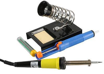 SOLDERING IRON STARTER KIT complete with iron stand solder desoldering pump