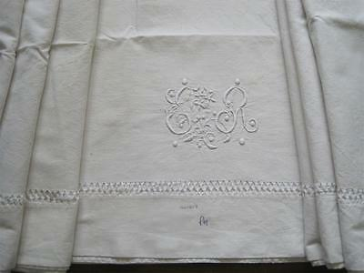 Vintage French Linen Metis Sheet, Beautiful, Great Fabric, Curtain, Bed Cover