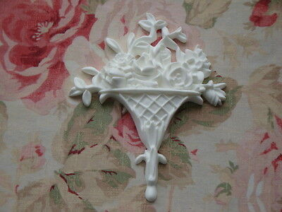 New! Shabby Chic Floral Basket Center Furniture Applique Architectural Plaque